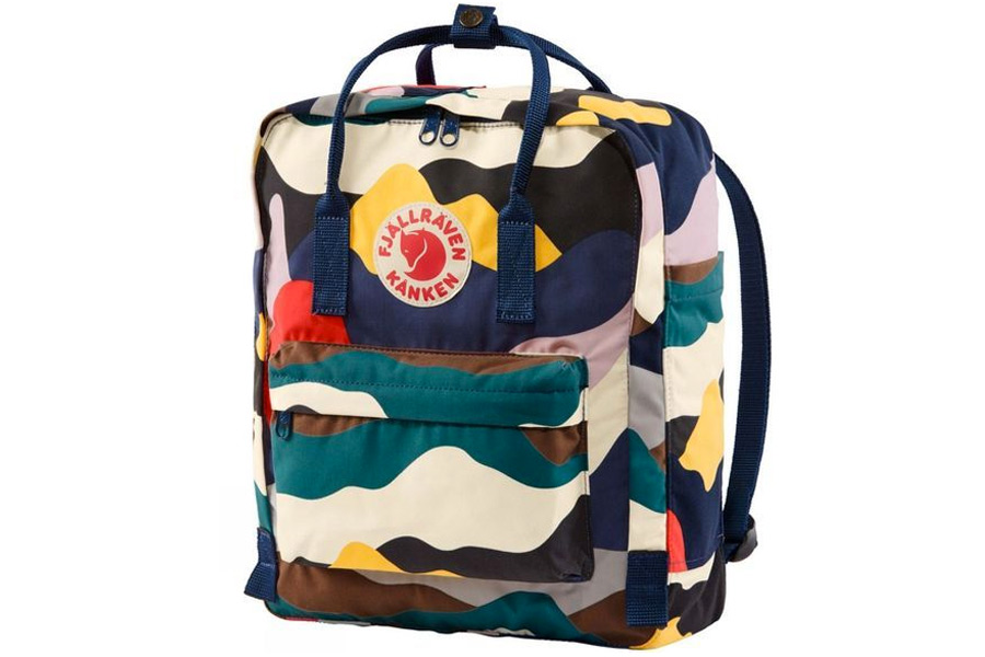 A multi-coloured backpack with a camouflage type design