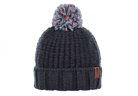 A blue knitted hat with a light blue bobble on the top