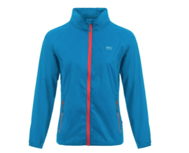A blue waterproof jacket with a red zip down the middle