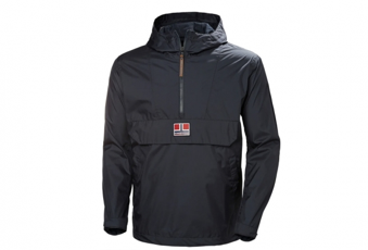 A black Helly Hansen jacket with a zip half way down the middle, and a pocket on the front