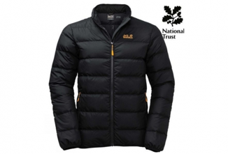 A black Jack Wolfskin puffer jacket with a yellow logo on the right hand side