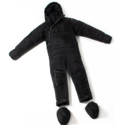 A black sleeping bag suit, with arms and legs, the feet from the sleeping bag are removed and shown below the suit