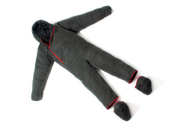 A black sleeping bag suit with red zips and details. It has the feet removed from the suit and shown next to it.