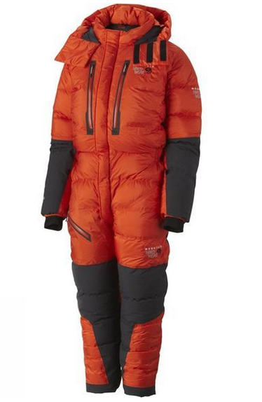 A puffy, orange sleeping bag suit. It has black sleeved and black sections on the legs, with black and orange zips on the chest.