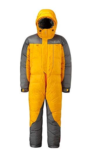 A yellow and grey sleeping bag suit with a hood. It has a zip down the middle.