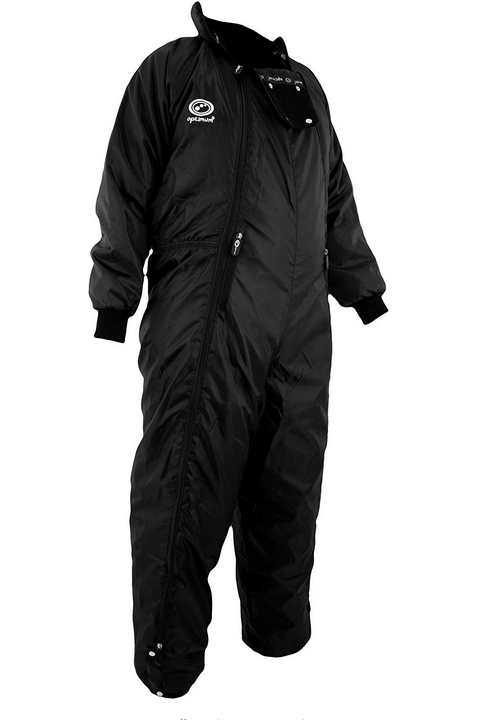 A black sleeping bag suit which has a diagonal zip from one side to the other.