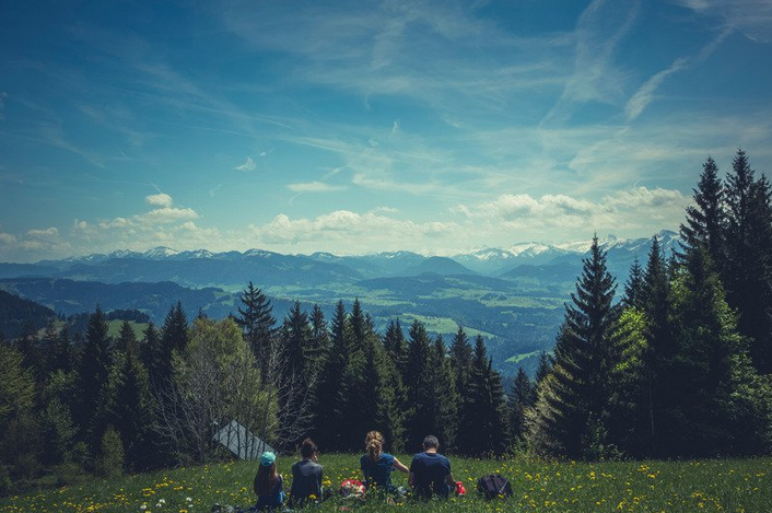 A family sat in the grass, facing away, overlooking a blue sky and clouds, tall green trees and mountains covered in snow.