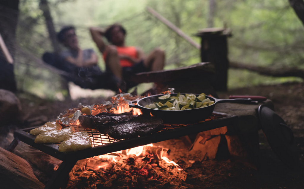 cooked food over a campfire