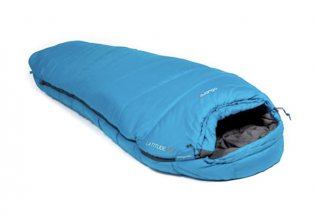 A light blue mummy sleeping bag with a hood