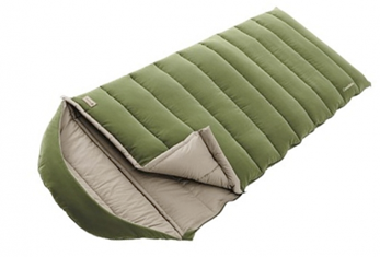A green puffy sleeping bag