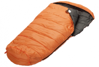 An orange and black sleeping bag