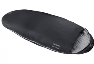 A black oval shaped sleeping bag