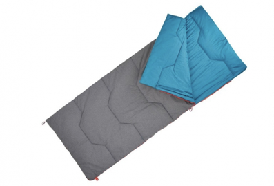 A blue and grey cotton, rectangle sleeping bag