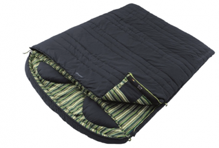 A striped and navy double sleeping bag