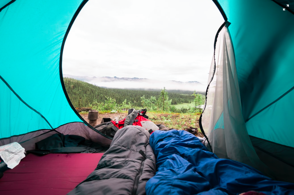 The view from inside a tent, outside of the door showing grass, trees and a mountain top