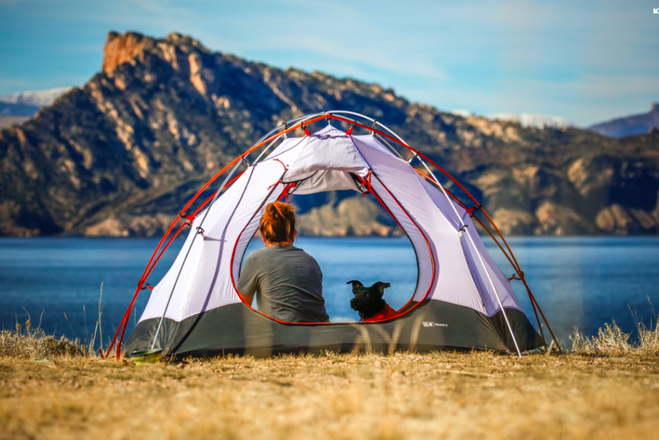 A woman and her dog sitting in a tent with a lake and mountain behind them.