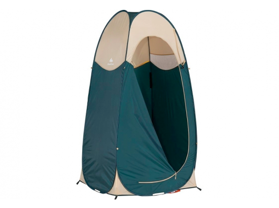 A green and brown cubicle tent