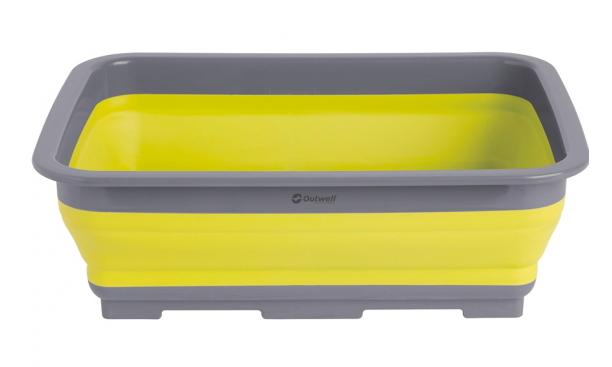 A yellow and grey washing up bowl