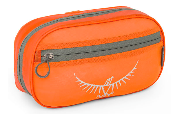 An orange bag with the osprey logo on the front