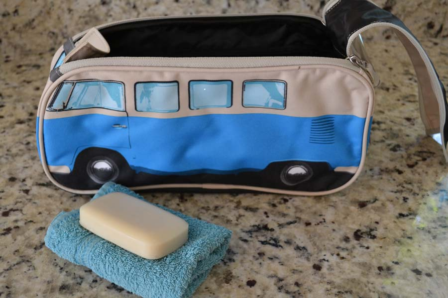 Blue Campervan Wash Bag with soap and flannel