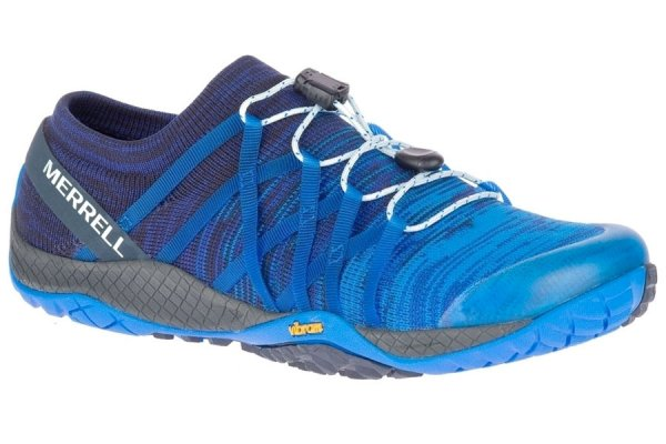 Merrell Blue Sport Ladies Trail Glove 4 Knit Stretch Trainer