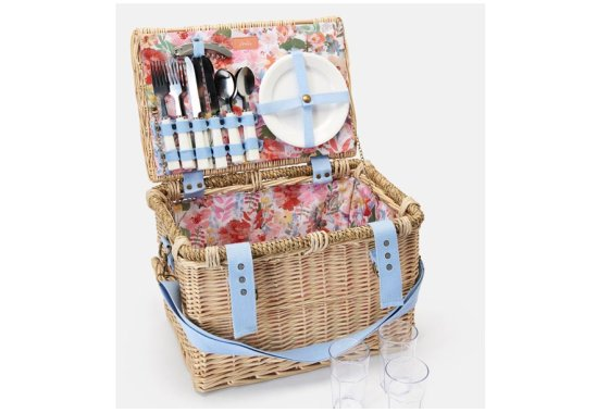 Joules Wicker Picnic Basket Set for 4 People