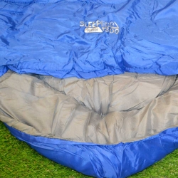 Blue Junior Sleepline 300 Mummy Sleeping Bag with wide hood