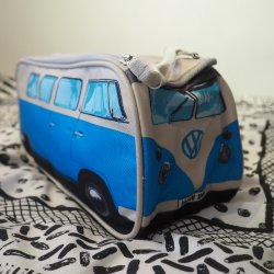 Blue VW Camper Van Wash Bag