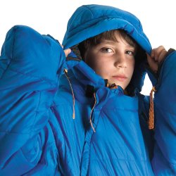 Kids Blue SelkBag insulated hood and drawstring feature