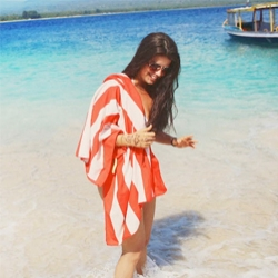 Coral Striped Towel