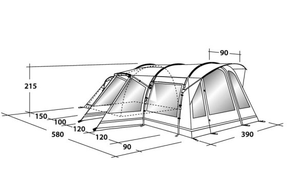 Outwell Montana 6E Family Tent Dimensions