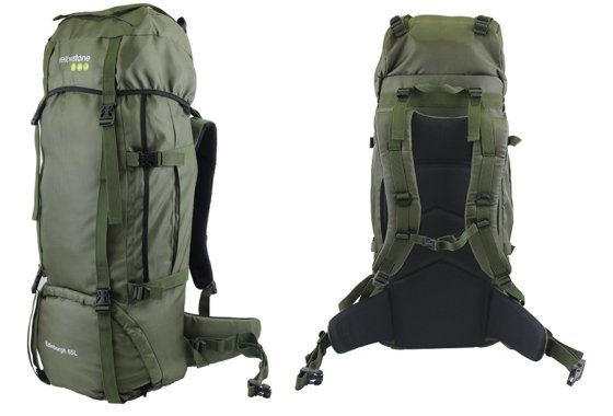 Yellowstone Edinburgh 65L Rucksack Olive - side and rear vie