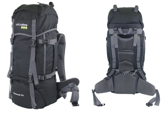 Yellowstone Edinburgh 65L Rucksack Black - side and rear vie