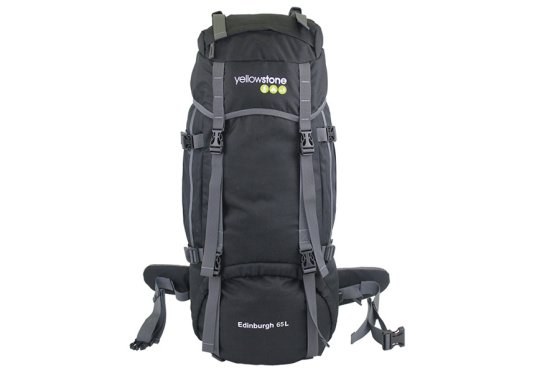 Yellowstone Edinburgh 65L Rucksack Black - front view
