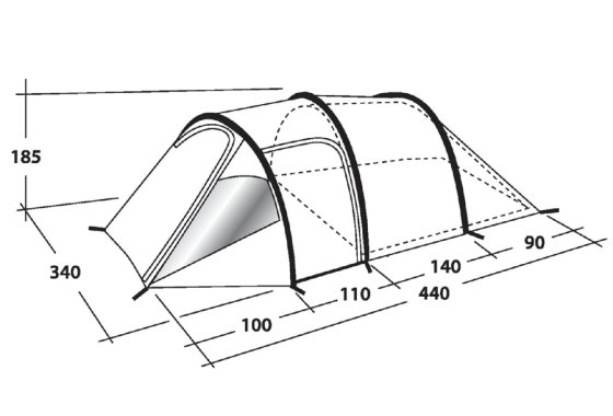 Outwell Earth 5 Family Tent Dimensions
