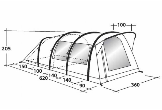 Outwell Clipper XL Family Air Tent - Dimensions