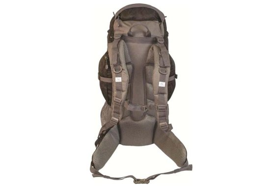 Highlander Black/Grey Discovery 45 Rucksack - Rear view