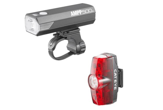 Cateye Ampp 500 and Rapid Mini Front and Rear Light Set BLAC
