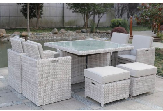 Rattan 8 Seater Cube Dining Set Seychelles