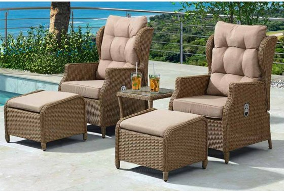 Skylar Reclining Lounge Rattan Companion Set