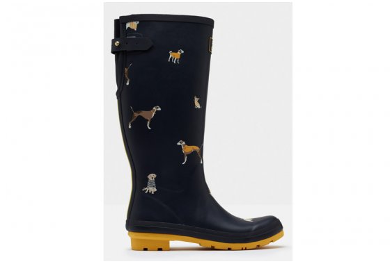 Joules Printed Wellies with adjustable back gusset
