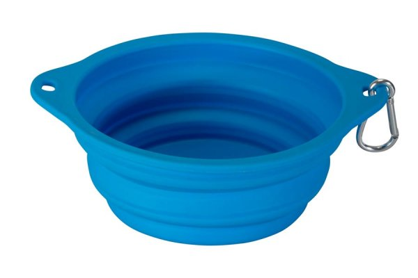 Fold away blue dog bowl with karibiner