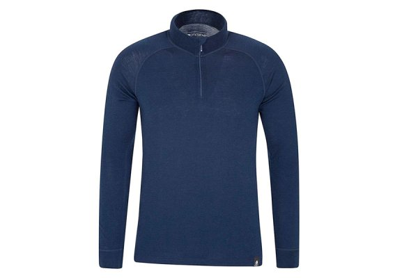 Mountain Warehouse Mens Merino Long Sleeved Zip Top