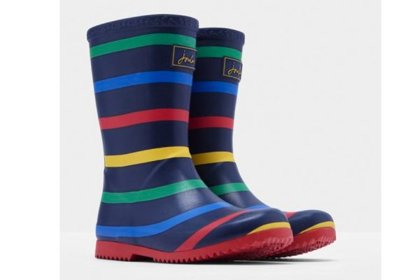 Kids Joules Striped Roll Up Wellies
