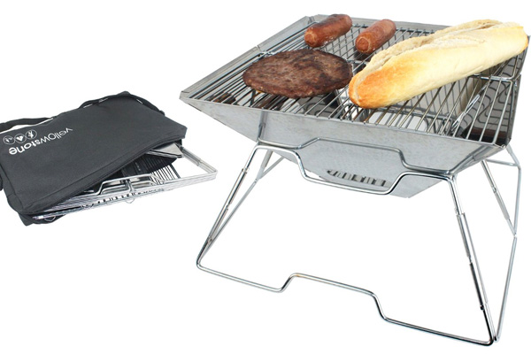 Stainless Steel Folding Camping BBQ with Stand