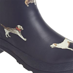 Joules Wellibob Ankle Boots Black Jumper Dogs Design
