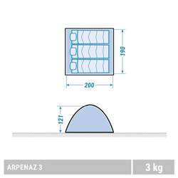 Decathlon Arpenaz 3 Man Tent Dimensions