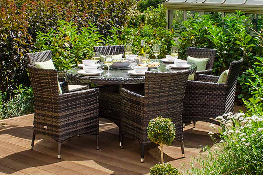 6 Seat Amelia Rattan Ding Set with oval table